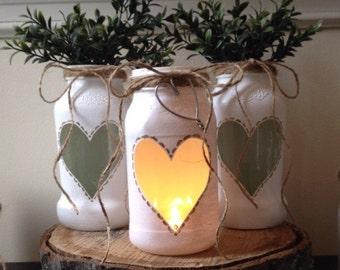 White Wedding Centerpiece, Jar Centerpiece, Rustic Wedding Centerpiece, Shabby Chic Centerpiece, Rustic Flower Vase