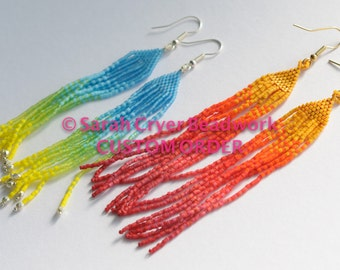 Custom beadwoven feather earrings