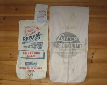 Feed Bags; Riceland, Larro, Watkins, Cotton/Muslin, Lot of 3