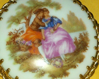 Limoges Made in France Brooch Pin  Romantic Couple