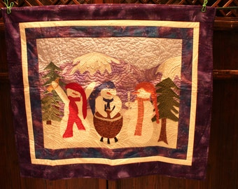 Price Reduced:  Christmas Quilt - Quilted Snowmen Snowman with Mountain Scene in Background