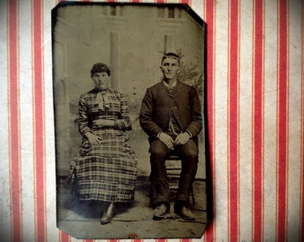 Distance Between Them // Unusual tintype of a couple posing with space between them // Plain pioneer antique vernacular photography