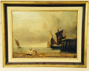 Oil Painting of Coastal Scene with Sailing Boats
