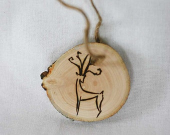 Wooden Christmas ornament, Christmas tree decor, eco Christmas decor, wood burned reindeer ornament, natural wood branch slice