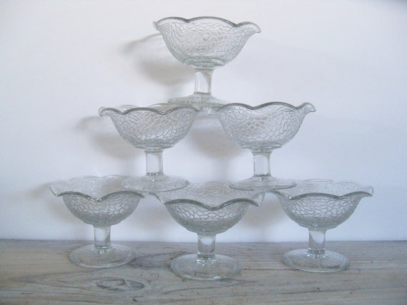 Antique Crackle Depression Glass Sherbert Set of 6 By Cracky L. E. Smith Glass Champagne Sherbert 1920s