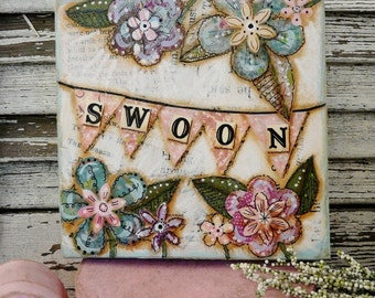 SWOON banner original painting Flowers mixed media -  acrylic art artwork canvas