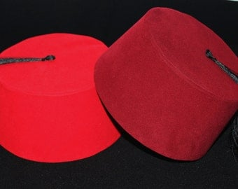 Velvet Fez Hat Shriner Turkish Casablanca Moroccan Cap Costume