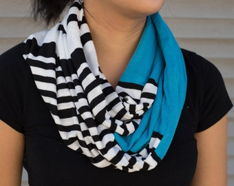 Blue, white, and black variety striped infinity scarf (cowl)