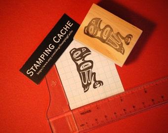 Hand carved rubber stamp - Tlingit raven design.