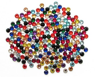 Assorted Mix Color Flatback Round Resin Rhinestones