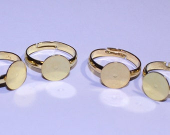 Adjustable Ring Base, Flat Ring Base, Pad Ring Base, Gold Ring Blank, Set of 4 Adjustable Ring Bases