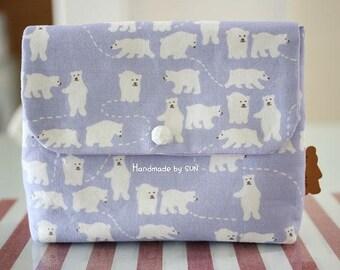 Cute White Polar Bear Pattern Cotton Fabric by Yard