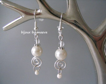 fashion jewelry earrings for bridal ivory beads and spiral