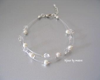 Bracelet Wedding Jewelry transparent ivory beads 3 rows