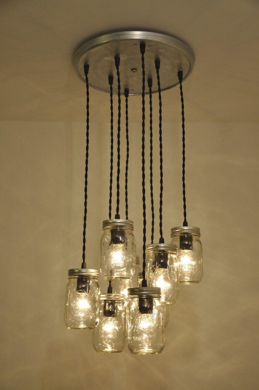 Mason Jar Chandelier Pendant Light Fixture 8 Jars Beautiful