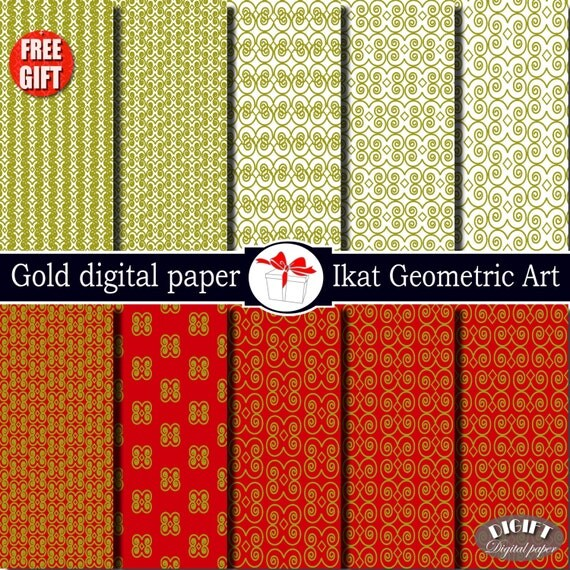 Gold digital paper geometric art red and white Gold damask fabric Gold decor game of thrones digital scrapbook Gold Ikat clip art print diy