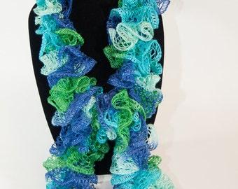 Knit Ruffle Scarf, Blue Green Purple Sashay Ruffle Scarf, Bell Ruffle Scarf, Aqua Knit Ruffle Scarf, Knit Ruffled Scarf