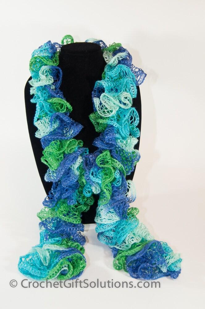 knit ruffle scarf blue green purple sashay ruffle scarf bell
