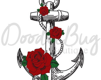 8x10 Anchor and Flowers INSTANT DOWNLOAD, Printable Art