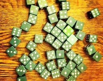 Set of Vintage Green Dice