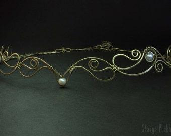 Elf tiara, Pearl tiara, Brass tiara, Elven diadem, Wire wrapped tiara