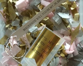Confetti Poppers with Gold, Silver and pale pink with a custom message - Will You Be My..... Maid of Honor, Bridesmai