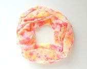 Summer infinity scarf, Spring Scarf, Chiffon, Pink Yellow Scarf, Loop Scarf, Women Scarves, Watercolor Scarf, Fashion Scarves, light weight