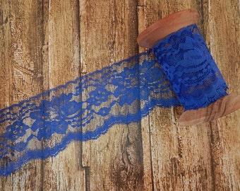 "Royal Blue Polyester Raschel Flat Lace Trim 3"" 5 yards"
