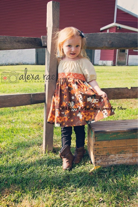 Thanksgiving dress, Fall dress, toddler girls,leaves,puppy dogs,rust colored dress,peasant style dress