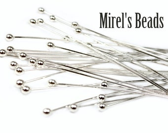 2 Inch Sterling Silver 1.3mm Ball Head Pins, 10 pcs 24 Gauge Ball Pins