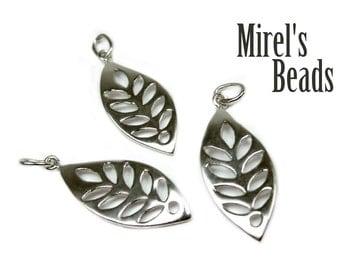 23.7mm Sterling Leaf Charm, Silver Leaf Pendant