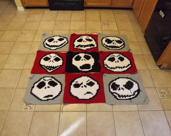 Many Faces of jack Skellington Corchet Graphghan GRID PATTERN ONLY