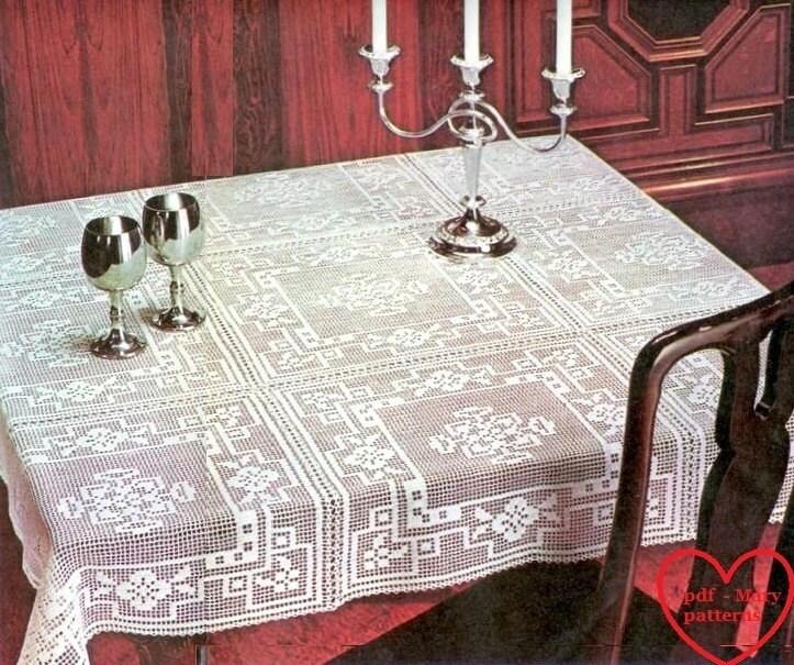 PDF Crochet Pattern Table Cover Crochet Doily Home Decor