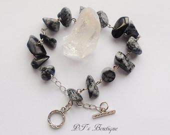 "Mind/Body/Spirit ~ Authentic Snowflake Obsidian Gemstone Bracelet 8-10"" adjustable Dangle"
