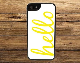 Cell Phone Case - Yellow Hello Cell Phone Case - iPhone Cell Phone Cases - Samsung Galaxy Case - iPod Case