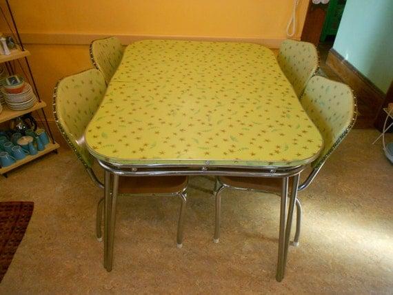 Vintage 1950 39 s kitchen set retro formica chrome kitchen - Vintage formica kitchen table and chairs ...