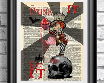 Art print on dictionary book page Alice in Wonderland. Gothic steampunk Mad Hatter on antique book page print. Dark artwork quotation.