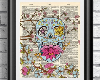 dictionary book page print tattoo new school style sugar skull and cherry blossom artwork - Prints On Old Book Pages