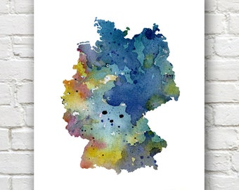Germany Map - Art Print - Abstract Watercolor Art Print - Wall Decor