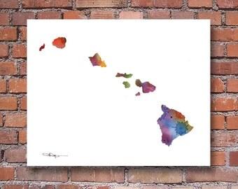 Hawaii Map - Abstract Watercolor Art Print - Wall Decor