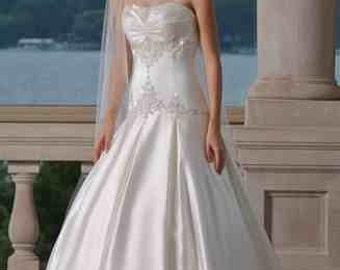 Embroidered sweetheart drop waist ball gown wedding dress