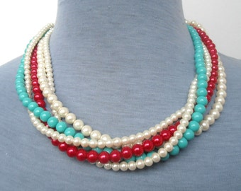 Pearl Necklace,  Glass Pearl Necklace,Five Strands  Necklace,Red Turquoise  Ivory  Necklace, Wedding Necklace,Bridesmaid Necklace,Jewelry