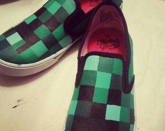 Minecraft Hand painted canvas shoes