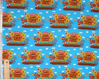 ON SALE Windham Fabrics Rocky and Bullwinkle Fabric by the Yard