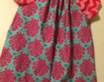 Turquoise and pink peasant dress