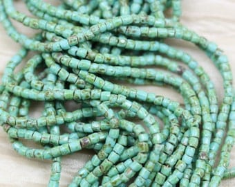 """RARE!!! Full hank!  9/0 3Cut Green Turquoise Picasso Czech seed beads - 10/18"""" hank"""