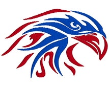 BUY 2, GET 1 FREE - Tribal Patriotic American Eagle Machine Embroidery Design in 3 Sizes -4x4, 5x7, 6x10, Red and Blue