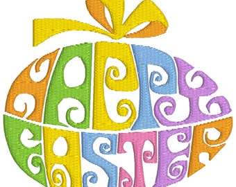 BUY 2, GET 1 FREE - Happy Easter Egg Machine Embroidery Design - Word Art in 3 Sizes - 4x4, 5x7, 6x10