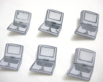 Laptop Computer Buttons Galore Set of 6 Shank Back - 4