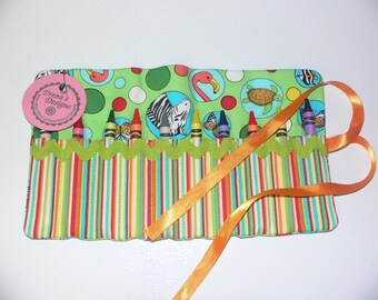 Crayon Roll-10 Crayola Crayons included-Great Birthday Gift or Party Favor